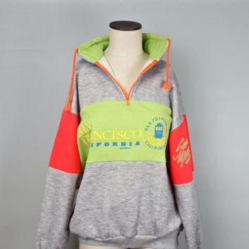 L Vintage 80s 90s San Francisco Neon Gray Pullover Sweatshirt / San Fran California Souvenir Sweatshirt / Neon Green Orange 1980s sweatshirt
