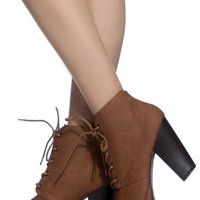 Chestnut Faux Leather Lace Up Chunky Booties @ Cicihot. Booties spell style, so if you want to show what you're made of, pick up a pair. Have fun experimenting with all we have to offer!