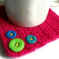 HOT PINK Coasters Felted with Felt Buttons Set of 4