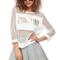 White Netted Turn Up Over Sized Tee