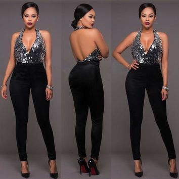 Womens Sexy Deep V Party Jumpsuit