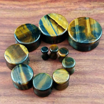 Pair of Blue Tiger Eye Stone Plugs (25mm, 22mm, 19mm, 16mm, 14mm, 12mm, 10mm, 8mm, 6mm, 5mm, 4mm)