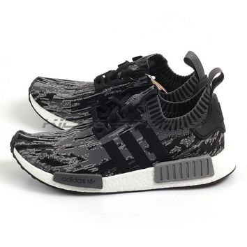 Adidas NMD_R1 PK Primeknit Glitch Camo Running Shoes Black/Grey/White BZ0223