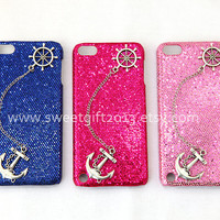 Rudder and Anchor Sparkle Ipod Touch 5 Case, glitter Ipod Touch 5 Case