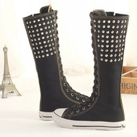 Manresar 2016 Rivet Canvas Boots Ladies Knee High Fashion Shoes Women's Lace-up Punk EMO Canvas Casual Shoes Girls Long Boots