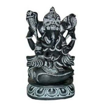 Ganesha Sitting on Conch Hindu God Ganesh Murti Sculpture Yoga Decor Spiritual Stone 8 Inches