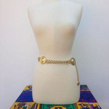 ONETOW Vintage VERSACE Gold Chain Belt 'GIANNI VERSACE Couture' Medusa Chain Belt Medusa Belt