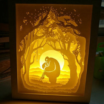 Baymax paper cut Light box Night light Accent Lamp Table Lamp shadow box kids baby nursery  room decor Desk Lamp