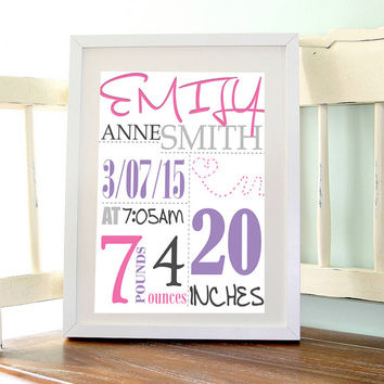 Custom Baby Name Birth Announcement, Nursery, Printable Wall art, Instant download, Printable quote, Digital poster, 8 Inches by 10 Inches