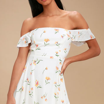 As You Flourish White Floral Print Off-the-Shoulder Skater Dress