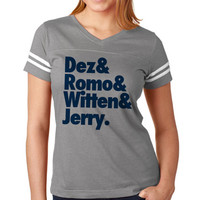 Dez and Romo and Witten Custom Dallas Cowboys Women's Tee Jersey | Matching Dallas Cowboys Tee Jerseys | Custom NFL Jersey Dez Romo Shirt