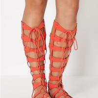 Laced Up Gladiator Sandal by Qupid®