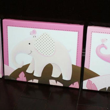 Set of 3 Pink and Brown Elephants Stretched Canvases Children's Bedroom Baby Nursery CANVAS Bedroom Wall Art 3CS004