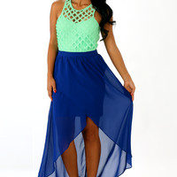 The Courtney Dress: Royal Blue/Mint