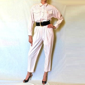 White Striped 90s Jumpsuit / Pink Vintage Pantsuit / Peach Stripes / Liz Claiborne Petite / 1pc Pant Set