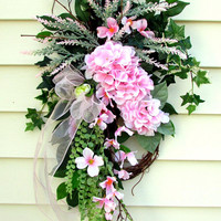 Pink Wreath For Front Door, Size 30 By 18 Inches, Pink Door Swag, Wreath Swag, Front Porch Decor, Floral Arrangement, Pink Hydrangea Wreath
