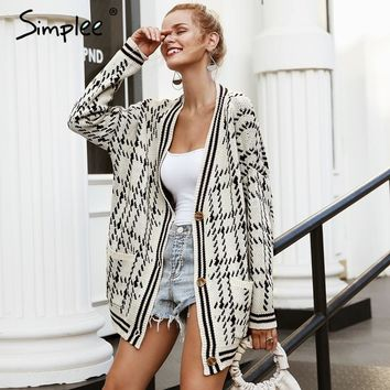 Simplee V neck plaid vintage cardigan Long sleeve fashion casual women sweater 2018 Autumn winter outwear female