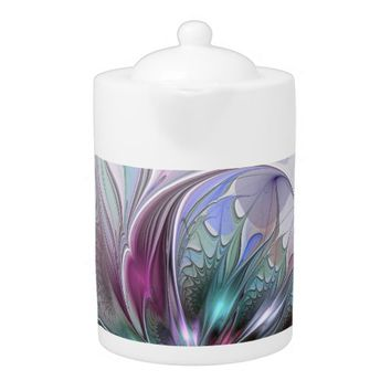 Colorful Fantasy, abstract and modern Fractal Art Teapot