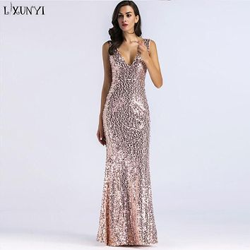 LXUNYI Woman Dress 2018 Spring Summer Sexy V-Neck Slim Sleeveless Long Dress Backless Club Party Sequin Dresses Ladies Europe
