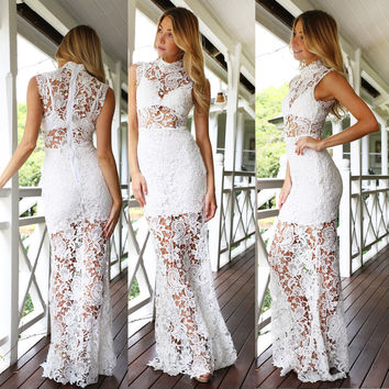 White Crochet Lace Sleeveless Overlay Maxi Dress