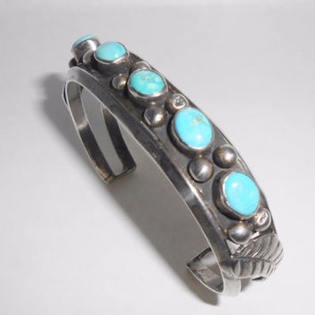 Navajo Cuff Sterling Silver & Turquoise Native American Bracelet
