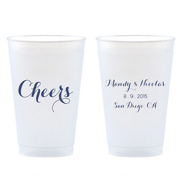 Cheers Cups Set of 50 - Gold, Silver, Blue or Black Party Favors 14 oz Frosted Shatterproof Plastic Cup - Can be Personalized Custom Gift