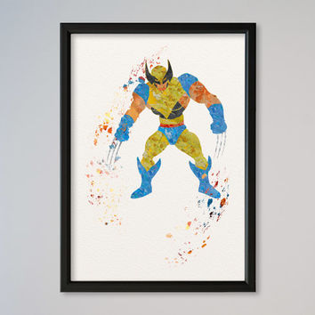 Wolverine X-men FRAMED Watercolor Poster Print Wall Decor Fine Art Giclee Home Decor Wall Hanging Marvel Comics X-man