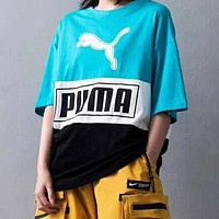 PUMA Summer Popular Women Men Casual Stitching Color T-Shirt Top Blue&Black