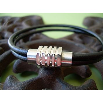 Double Strand Black Mens Leather Bracelet with Stainless Steel Magnetic Clasp  - MB06  Urban Survival Gear USA