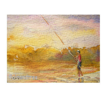 Fishing at the edge of the world, Original ACEO Watercolor Painting id1340866