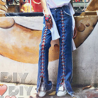 [TWOTWINSTYLE] 2016 Autumn Flare Pants High Slit Lace-up Women Denim Trousers New