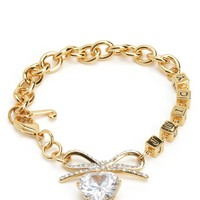 Pave Bow & Heart Charm Bracelet by Juicy Couture