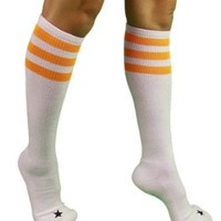 YogaColors Unisex Triple Stripe Sporty Knee High Stars Socks (Gold/Stars)