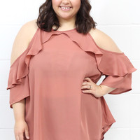 Curvy: Ruffled Cold Shoulder Blouse {Mauve}