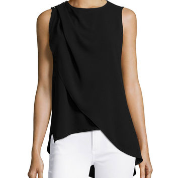 Sleeveless Jewel-Neck Top, Black, Size: