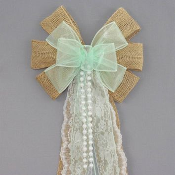 Mint Sheer Burlap Lace Pearl Wedding Pew Bow