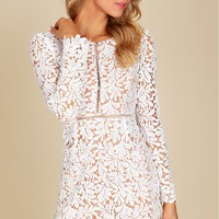 Crochet Lace Long Sleeve Dress White