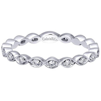 "Gabriel 14K ""Marquise"" Shaped Stackable Ring Featuring Round Cut Diamonds"