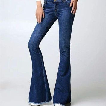 LMFG8W Free shipping Fashion Female Mid Waist Bell Bottom Jeans Womens Boot Cut denim pants vintage wide leg flare jeans 061801