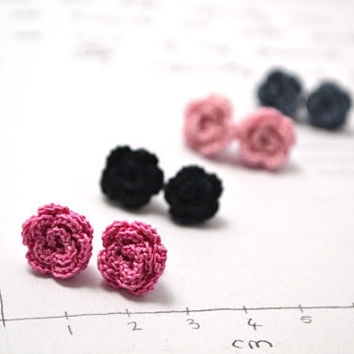 crochet rose post earrings with dainty miniature flowers