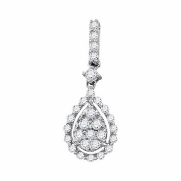 14kt White Gold Women's Round Diamond Cluster Pendant 1-2 Cttw - FREE Shipping (US/CAN)