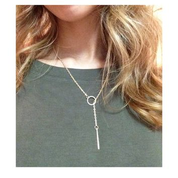 Gold Hole and Bar Long Chain Necklace