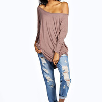 Elsa Raglan Sleeve Off The Shoulder Dip Back Tunic