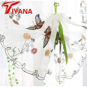 Butterfly curtain panel roman window valance home kitchen curtains string fabric for yarn rustic curtain yarn customize P242Z20
