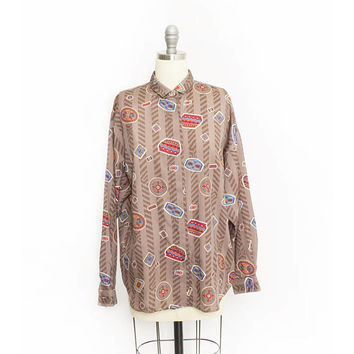 Vintage 1980s Blouse - Diane Von Furstenberg South West Novelty Print Top - Medium / Large