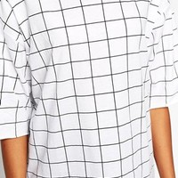 Monki Oversized Grid Check Tee at asos.com