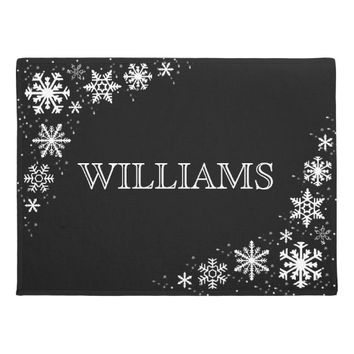 Snowflakes Black and White Personalized Doormat