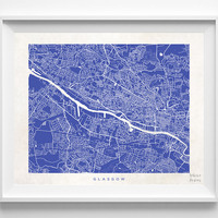 Glasgow, Scotland, United Kingdom, Print, Map, Poster, State, City, Street Map, Art, Decor, Town, Illustration, Room, Wall Art, Customize