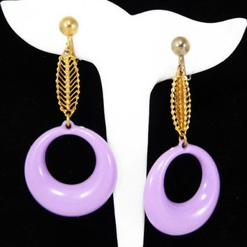 934354559 Dangling Purple Hoops Earrings Signed Hong Kong, Clip on Gold To