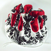 Wedding Bag,   Dollar Dance Bag, Satin Bridal Money Purse, Bridal Tote Bag, Bridal Reticule, Black and White Damask/Red  No Pockets